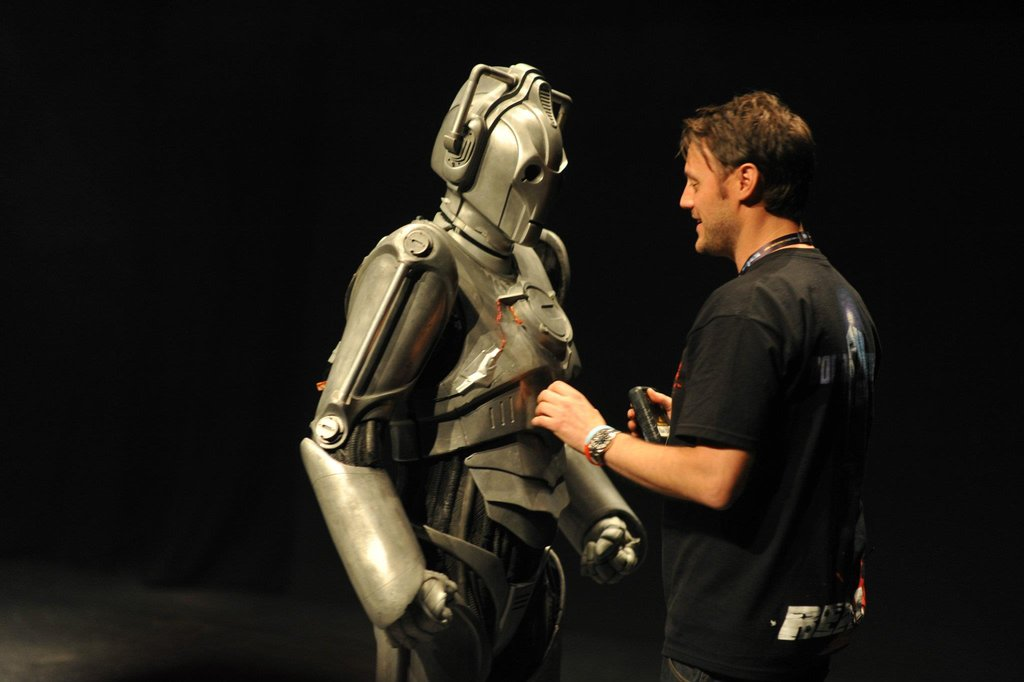 Danny Hargreaves, the show's special effects supervisor demonstrates a Cyberman.  Photo: Doctor Who Facebook, Alexandra Thompson