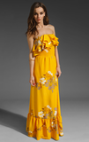 MM Couture by Miss Me Ruffle Top Maxi Dress With Hibiscus Print ($94)