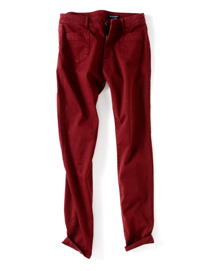 Colored jeans are a hot Spring trend. Pair this dark merlot hue with a floaty white peasant top and sandals for a casual chic weekend ensemble.  Club Monaco Robin Skinny Pants ($130)