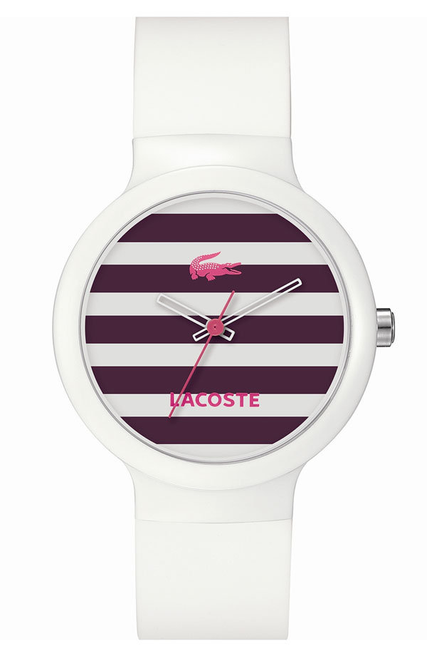 This cute stripe watch will inject an athletic touch to any outfit.  Lacoste 'Goa' Stripe Silicone Strap Watch ($95)