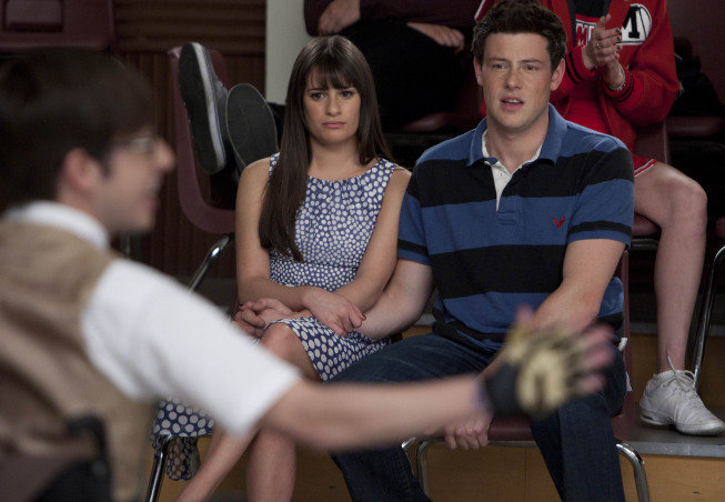 Lea Michele as Rachel and Cory Monteith as Finn on Glee. Photo courtesy of Fox