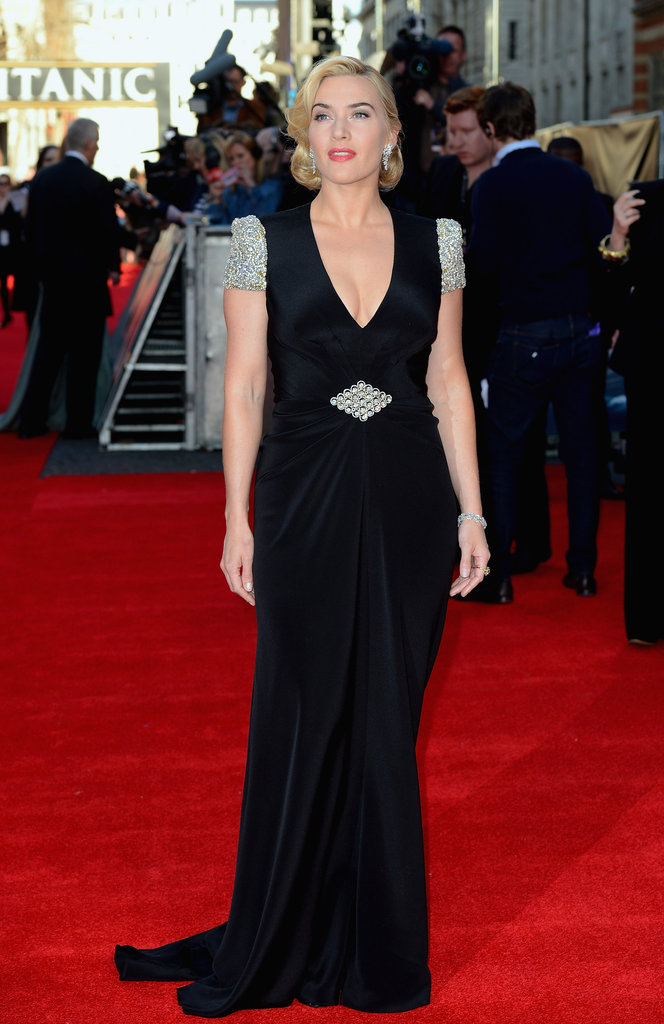 Kate Winslet in a plunging v-neck dress at the Titanic 3D world premiere in London.