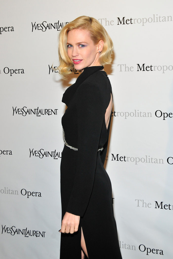 January Jones in a black open-back dress at the Metropolitan Opera gala in NYC.