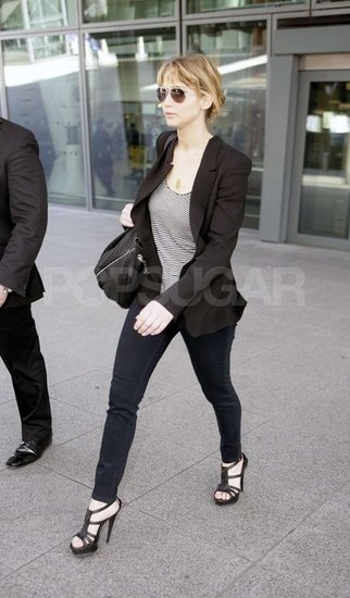 Jennifer Lawrence touches down in London.