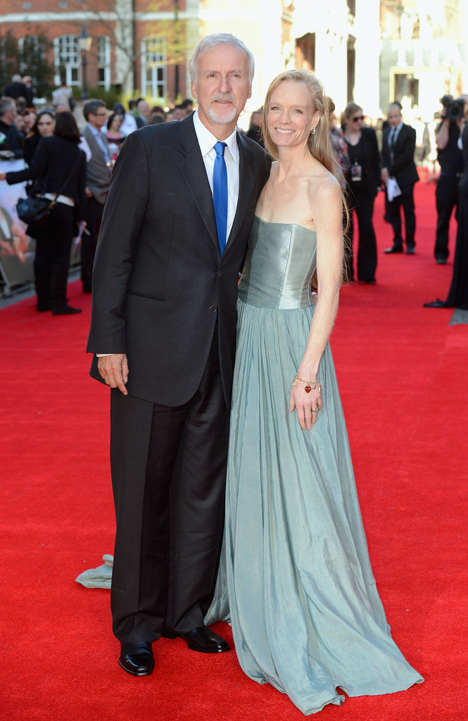 Director James Cameron and his wife on the red carpet of the Titanic 3D world premiere in London.