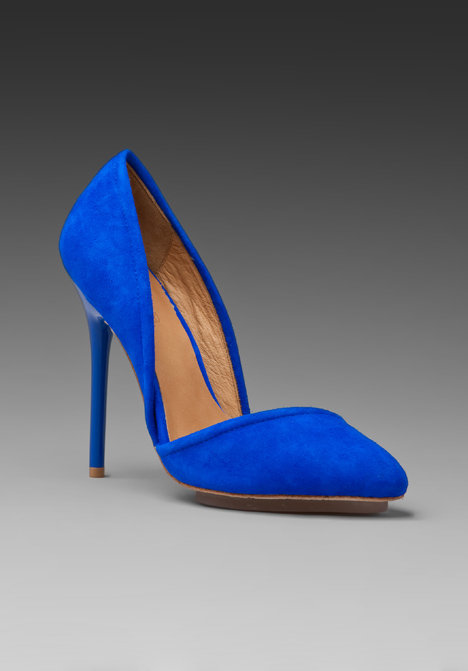 Brilliant blue suede that'll light up our everyday look in a snap.  Lamb Meridith Suede Heel ($250)