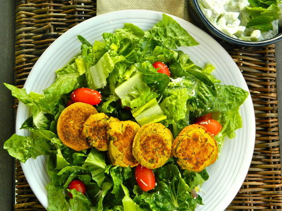 Falafel Salad with Cucumber-Dill Dressing
