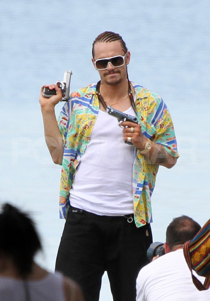 James Franco dressed up on the Spring Breakers set.