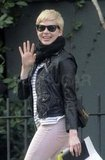 Michelle Williams wore a leather jacket.