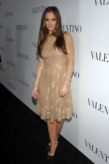 Minka Kelly wore a lace gold dress to celebrate Valentino's 50th anniversary in LA.
