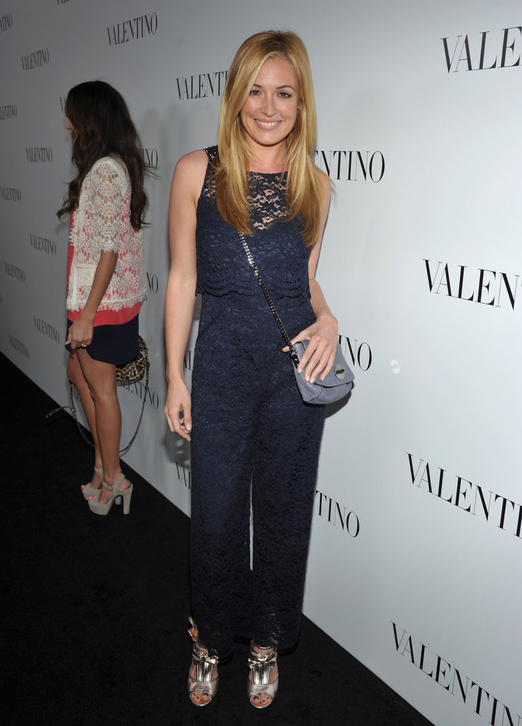 Cat Deely wore a blue lace jumpsuit to the celebrations for Valentino's 50th anniversary in LA.