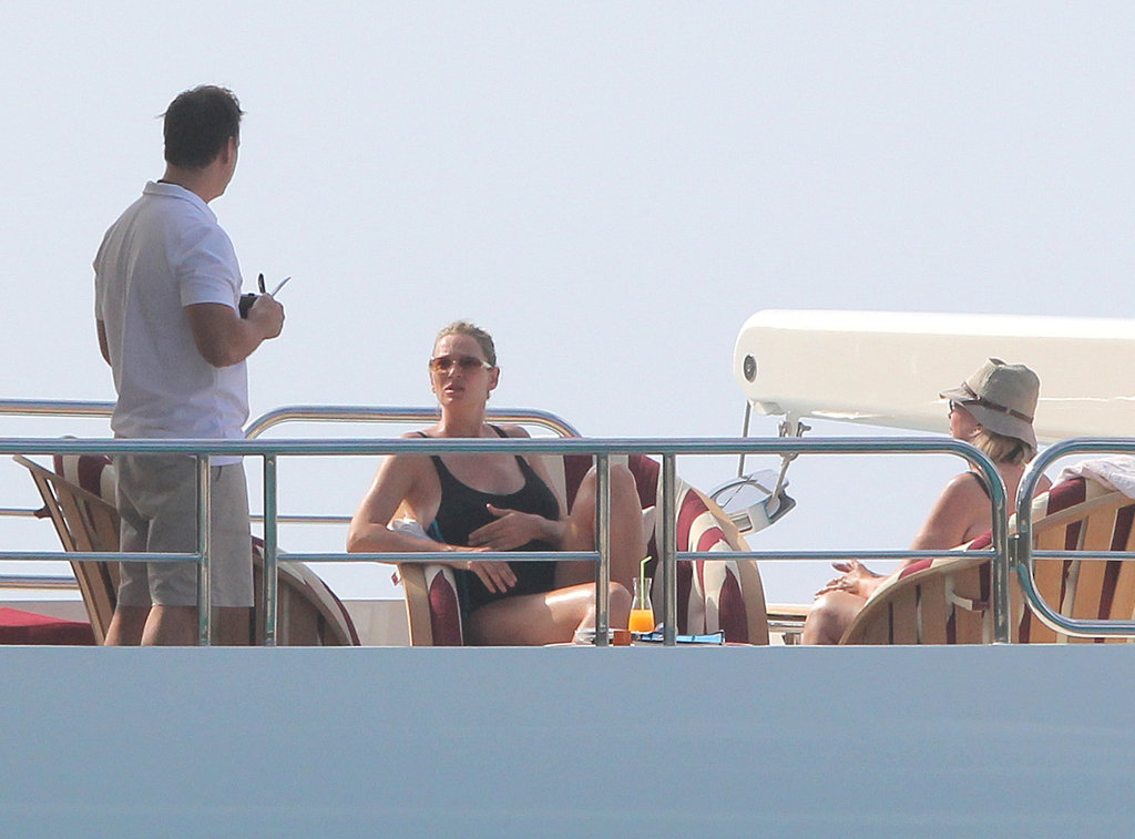 Uma Thurman lounged on a yacht.