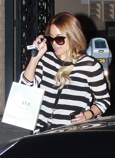 Lauren Conrad wore a striped shirt to Kate Somerville in LA.