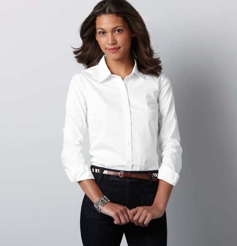 There are countless ways to rock a crisp button-front blouse — for any fashionista, it's a wardrobe must. LOFT Stretch Cotton Poplin Long Sleeve Button Down Shirt ($35)