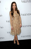 Minka Kelly was the picture of femininity in gold-tinged Valentino.