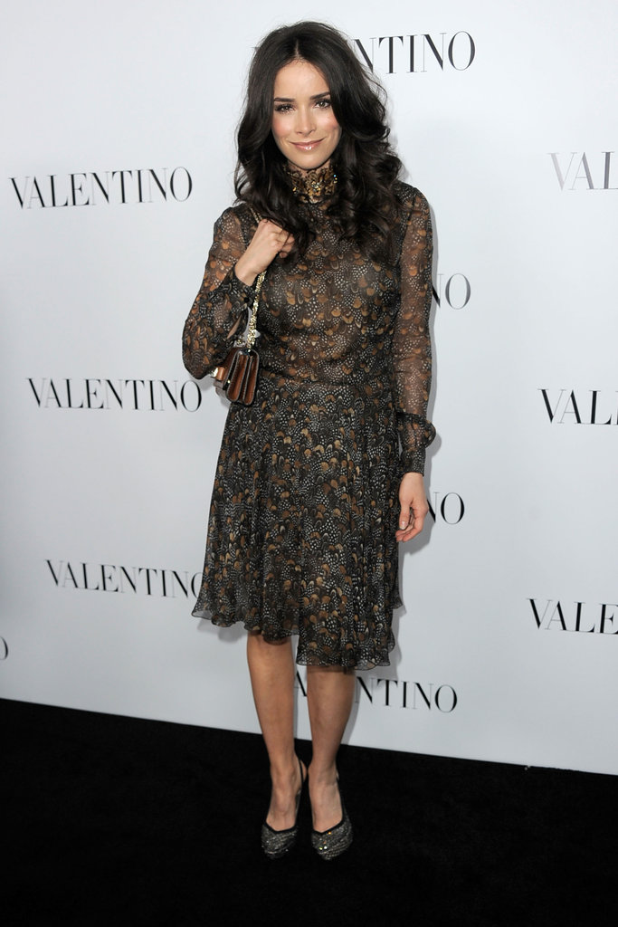 Abigail Spencer opted for a subtly-printed frock and metallic-tinged accessories.