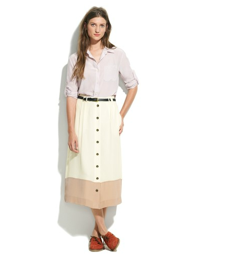 We love the kind of '70s vibe of this button-front skirt. It has a more dressed-down feel that works perfectly with a button-down and a pair of wood-heeled sandals for everyday.  Madewell Colorband Skirt ($80, originally $105)