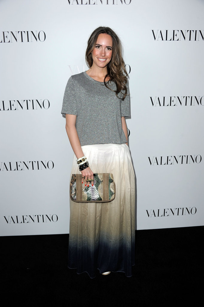 Louise Roe played it more relaxed in an ombré-tinged maxi skirt and dressed-down tee.