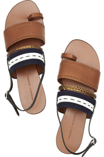 Proenza Schouler | Leather and canvas sandals | NET-A-PORTER.COM