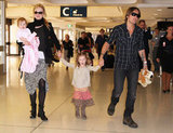 Nicole Kidman and Keith Urban traveled with daughters Faith and Sunday in an airport in Australia.