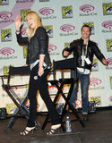 Michael Fassbender laughed after a day of press with Prometheus costar Charlize Theron at LA's WonderCon during March 2012.