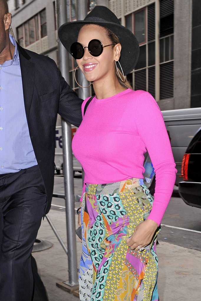 Beyoncé wore a pastel maxi skirt and circle sunglasses out in NYC.