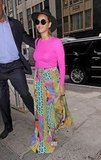 Beyoncé stepped out in NYC wearing a brightly patterned skirt and pink top.