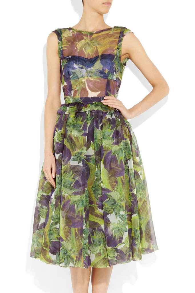We fell in love with this sheer ladylike Dolce & Gabbana dress once we laid eyes on it on the runway. We adore the whimsical eggplant print and sexy sheer top.  Dolce & Gabbana Eggplant-Print Silk-Organza Dress ($3,935)
