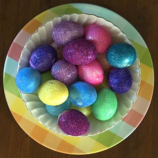 Decorate and Display Do It Yourself Glitter Eggs for Easter