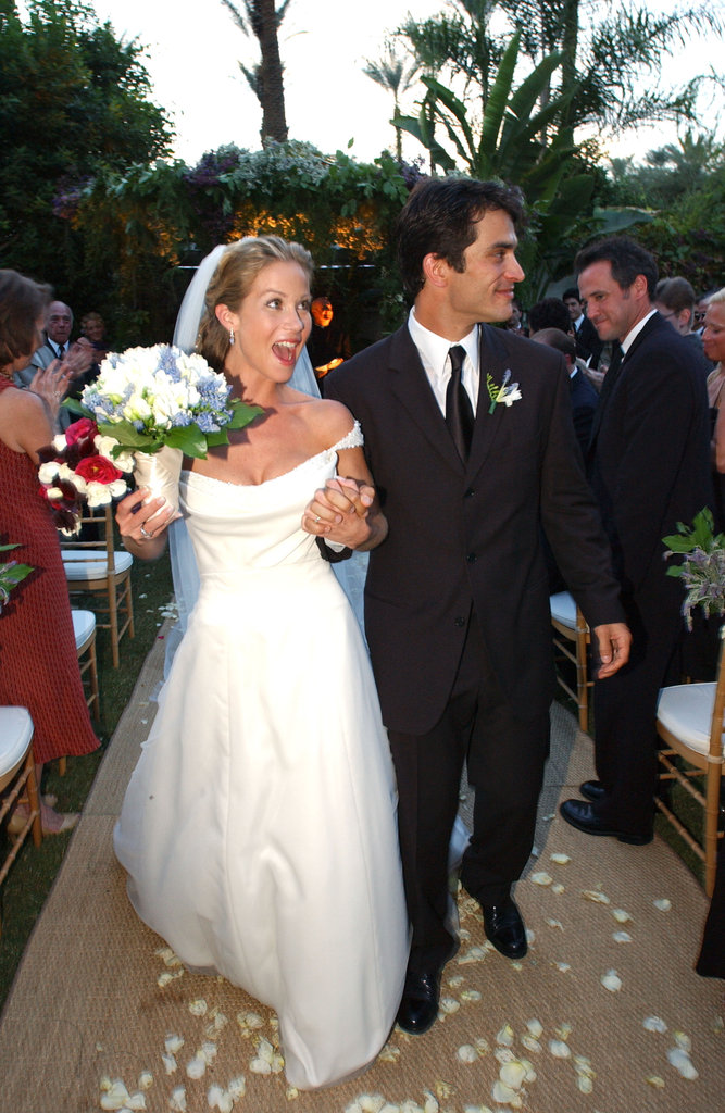 Christina Applegate and Johnathon Schaech were married in Palm Springs during October 2001. Christina wore an off-the-shoulder white silk Reem Acra gown for the romantic affair.