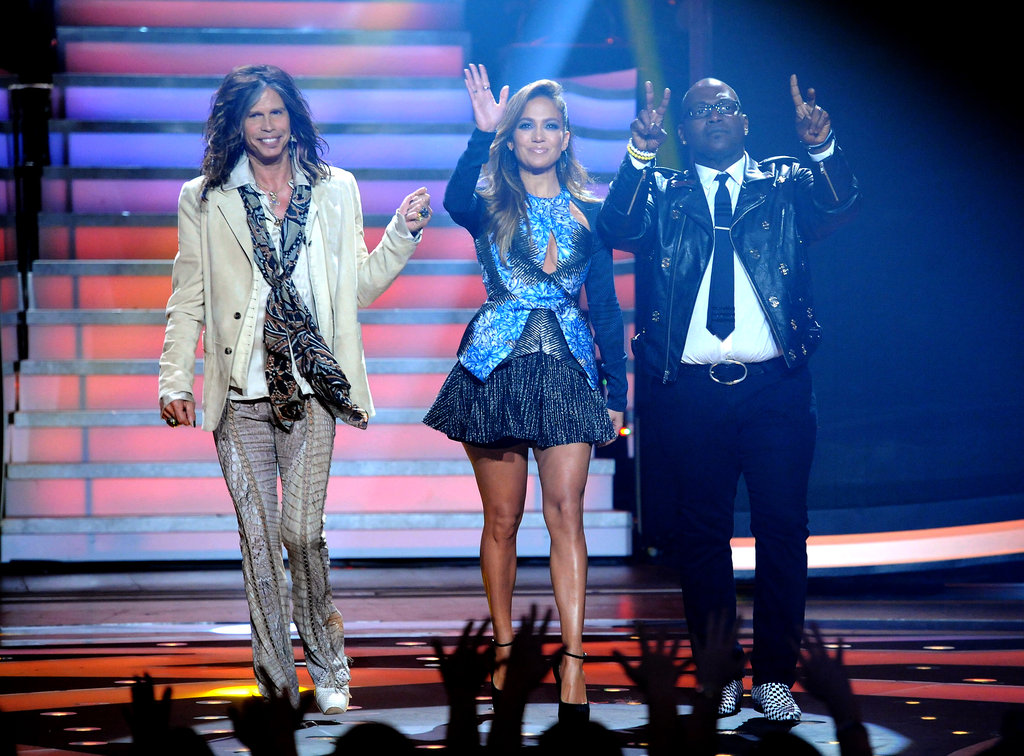 Jennifer Lopez and her fellow judges Steven Tyler and Randy Jackson at the elimination show.