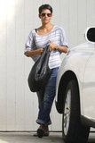 Halle Berry wore a striped top in LA.