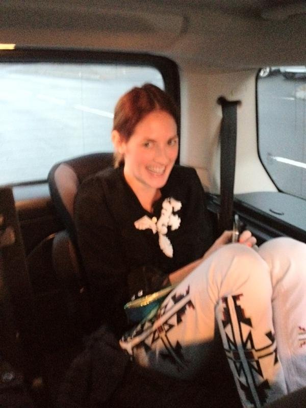 Taylor Tomasi Hill was a backseat bandit, in a kid's car seat!