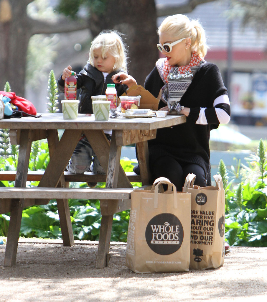 Gwen Stefani fed Zuma at the park in LA.