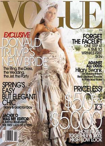 Melania Trump shared a photo of her wedding dress in Vogue following her January 2005 nuptials with Donald Trump.