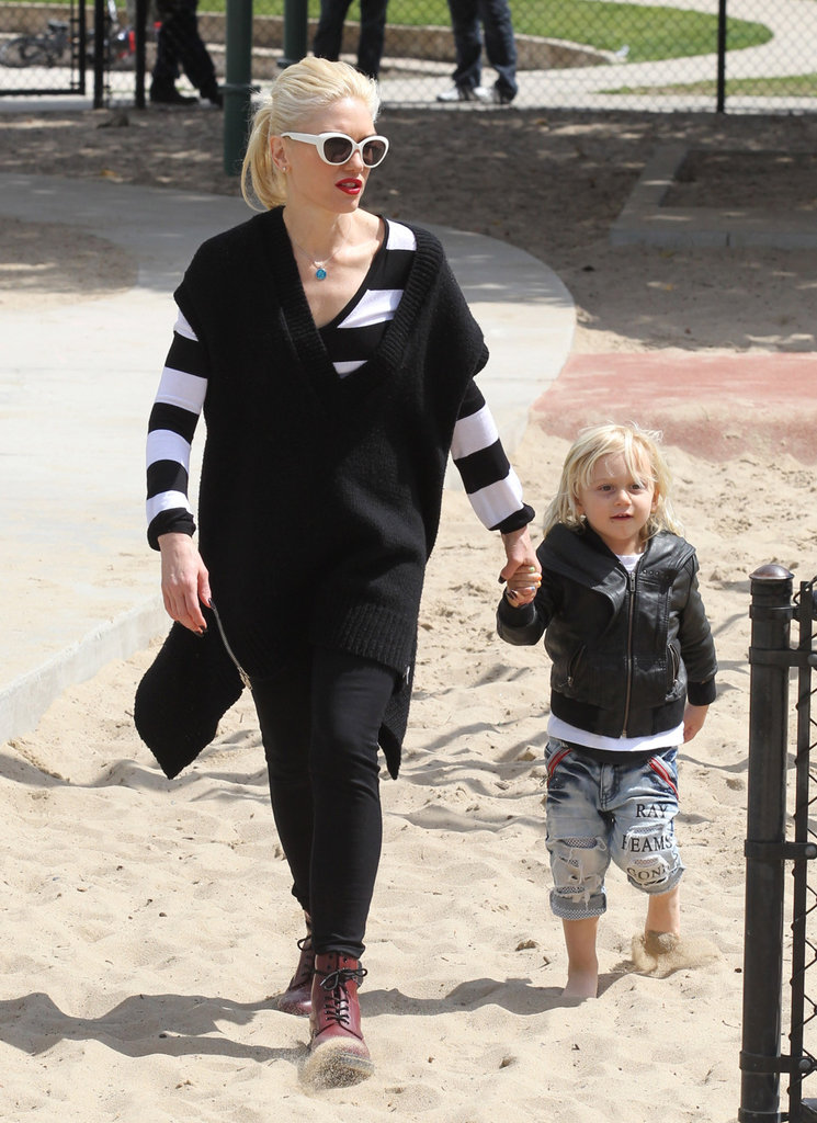 Gwen Stefani led Zuma into the playground in LA.