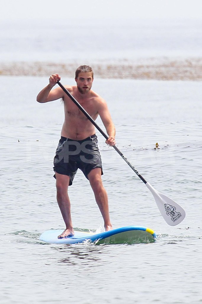 Robert Pattinson went paddleboarding shirtless.