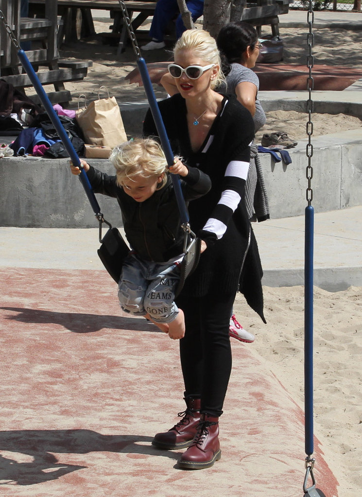 Gwen Stefani gave son Zuma a push on the swings on the playground in LA.