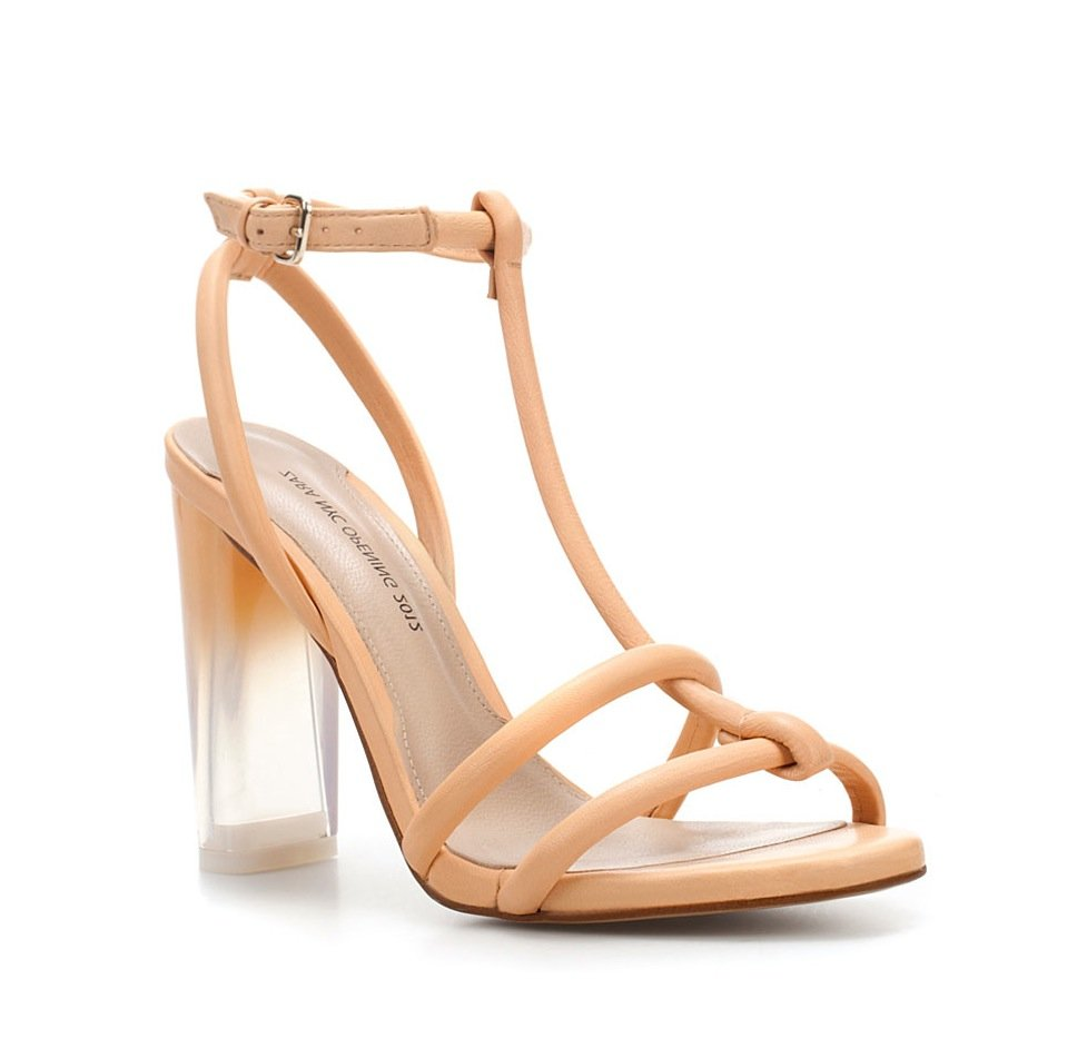 "How chic are these heels? We're in love with the ombre-tinged lucite heel. Zara ""Dear New York"" Sandal ($100)"