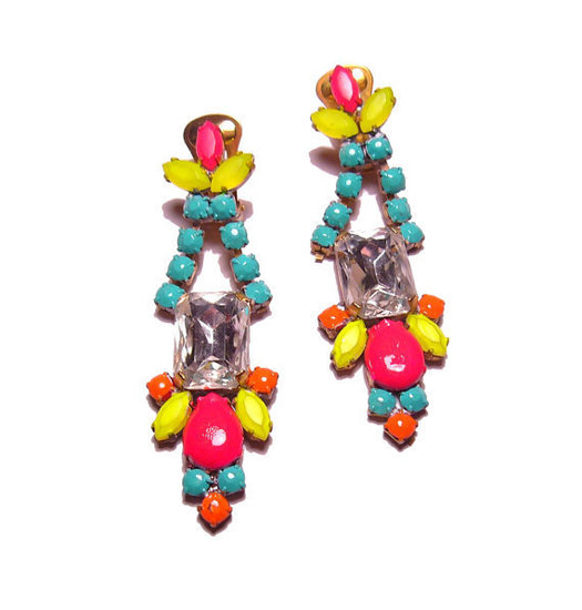 Pump up a party look with these fun neon earrings. PureEssentia Neon Handpainted Earrings ($85)