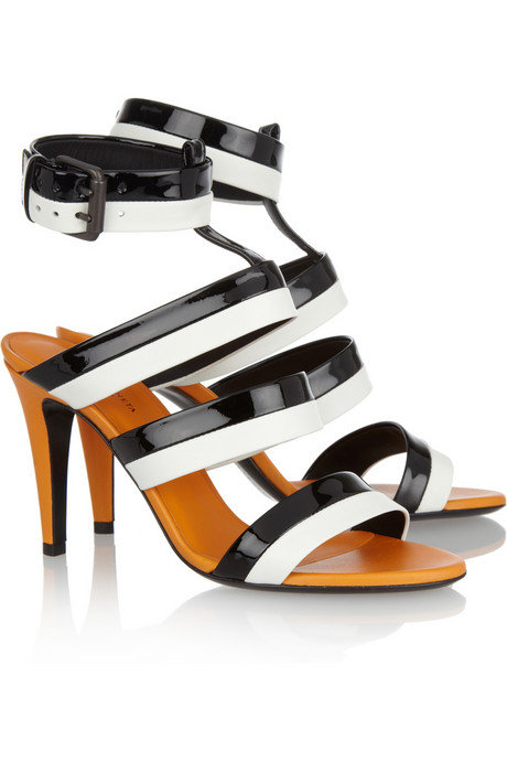 """These are the most elegant take on the colorblocked heel. The patent leather feels sporty, while the orange trim gives the classic black and white palette a fresh punch."" — Noria Morales, style director  Bottega Veneta Three-Tone Leather Sandals ($680)"