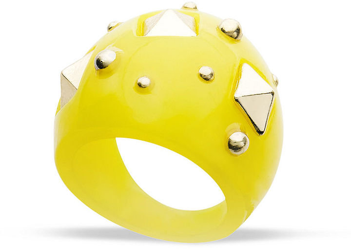 A bold, bright cocktail ring is always a great accessory choice.  Bar III Yellow Resin Stud Ring ($18)