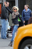 Cameron Diaz hailed a cab on the streets in NYC.