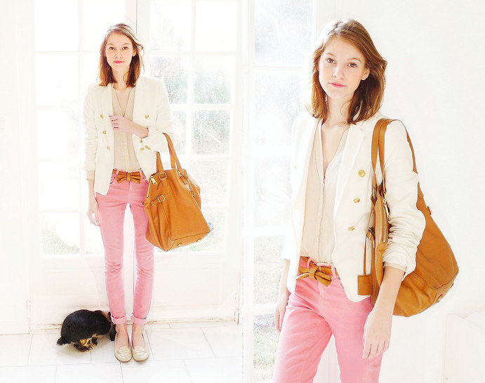 For a work-appropriate look, add a pop of color via cuffed pink jeans and neutral-toned accessories. Photo courtesy of Lookbook.nu