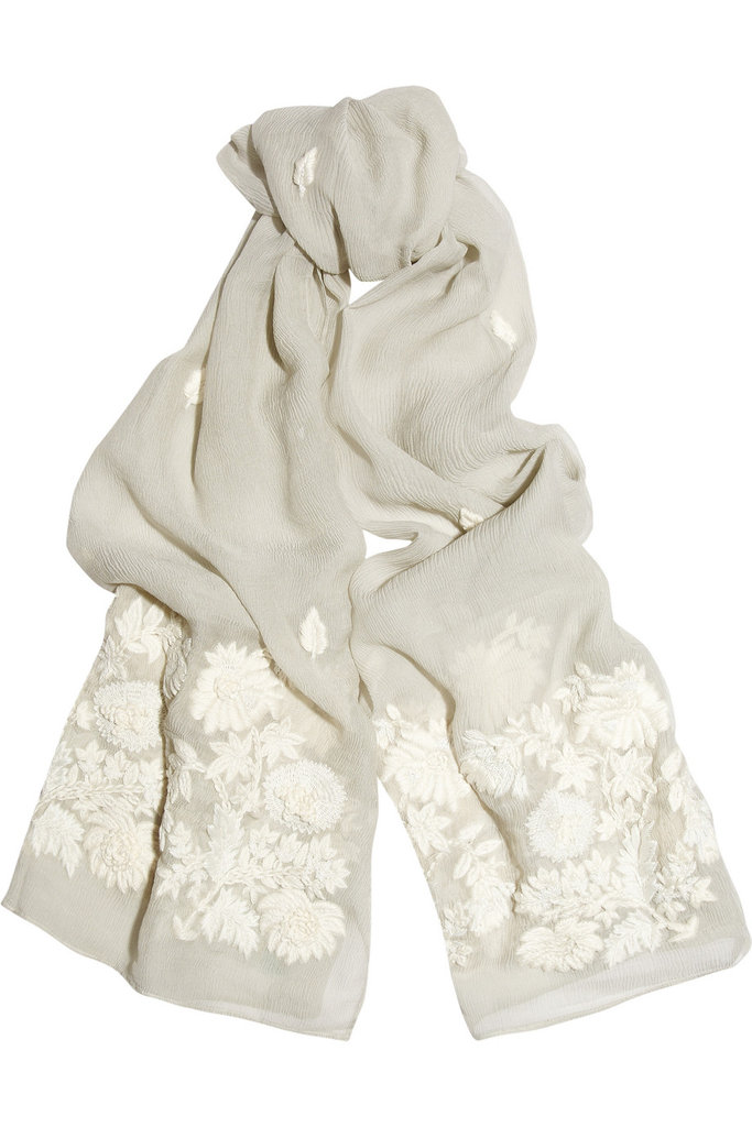 Pair this sweetly embroidered scarf with tougher pieces (read: a leather jacket and minimalist-chic dresses) for a soft accent. Leaves of Grass Ellery Embroidered Silk-Chiffon Scarf ($415)