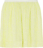 We love the subtle lemon hue on this skirt — it would look great with a slouchy gray tee and oxfords.  J.Crew Citron Sequined Mini Skirt ($595)