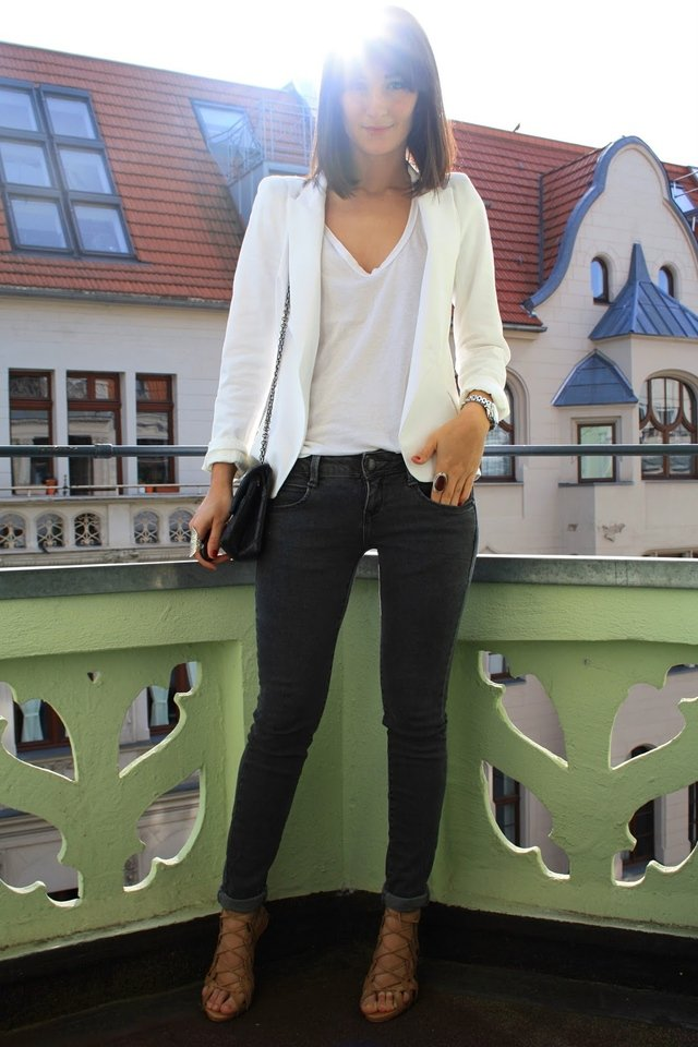 For an everyday chic look, just add a white tee, black jeans, and lace-up heels.   Photo courtesy of Lookbook.nu
