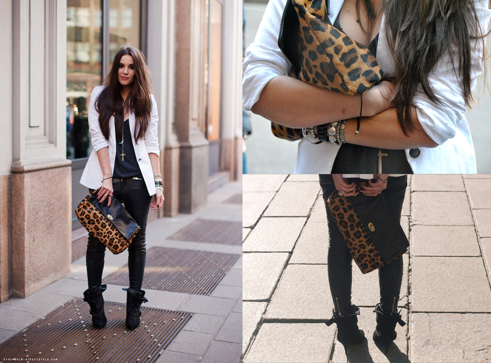 Rocker accessories and an oversize leopard-print clutch can add infinite edge to a clean-cut blazer.   Photo courtesy of Lookbook.nu