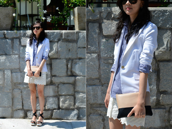 Layer your white blazer with a crisp gingham-print top. Photo courtesy of Lookbook.nu