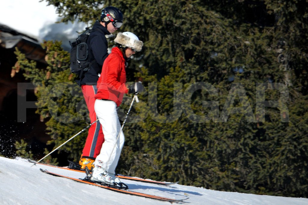 Carole Middleton wore a furry hat while she skied down the slopes with Prince William.